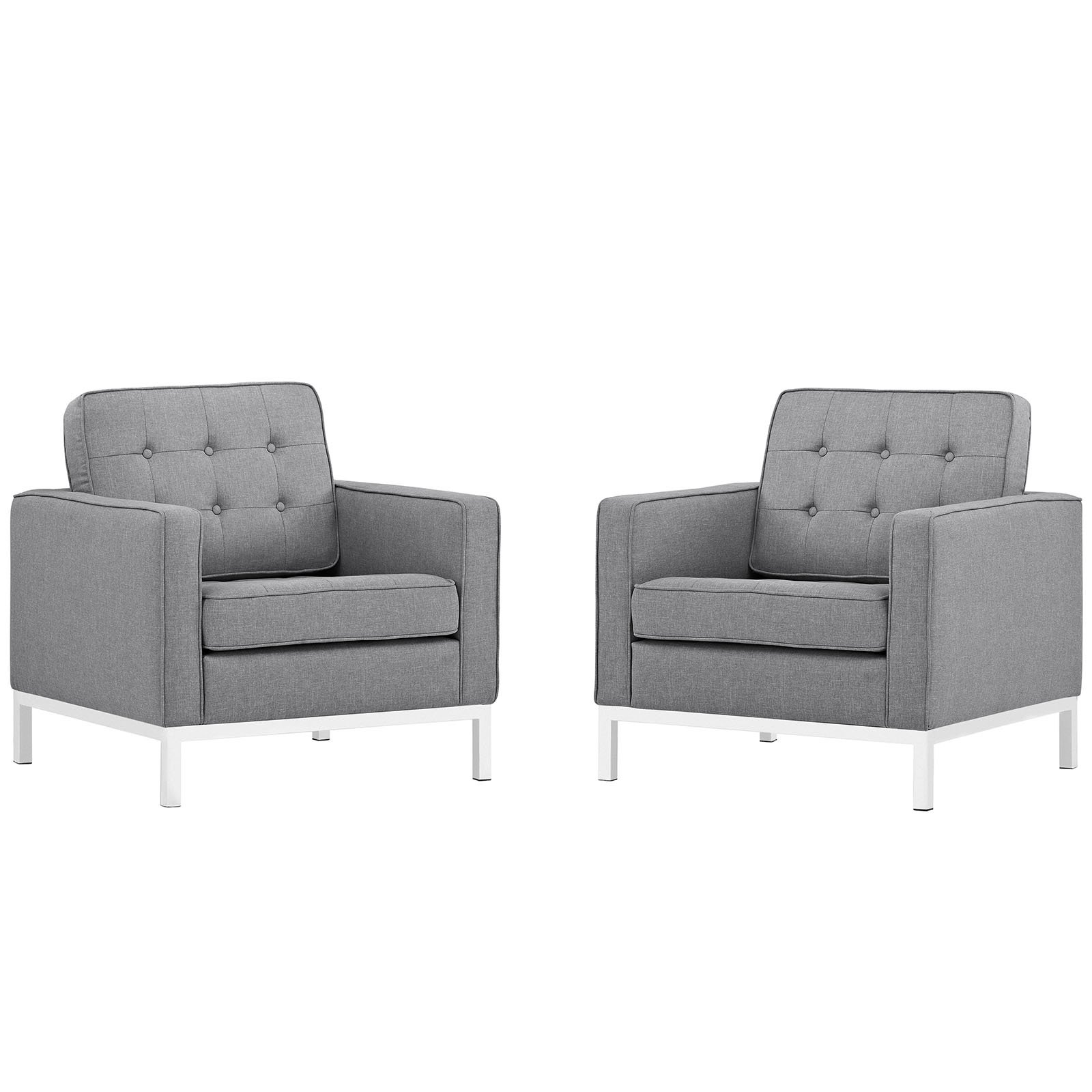 Modway Loft Upholstered Fabric Mid-Century Modern Accent Arm Lounge Chairs in Light Gray - Set of 2 by Modway