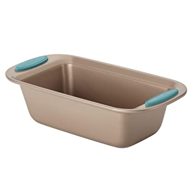 Rachael Ray Cucina Nonstick Bakeware Bread / Meat Loaf Pan, 9-Inch x 5-Inch, Latte Brown, Agave Blue Handle Grips, Medium - 46680