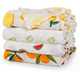 upsimples Baby Swaddle Blanket Unisex Swaddle Wrap Soft Silky Bamboo Muslin Swaddle Blankets Receiving Blanket for Boys and Girls, 47 x 47 inches, Set of 4-Lemon/Kiwi Fruit/Watermelon/Orange