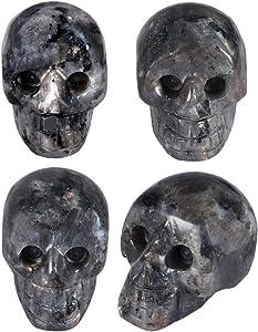 SUNYIK Labradorite Carving Skull Stone Pocket Statue Figurine Decor 1