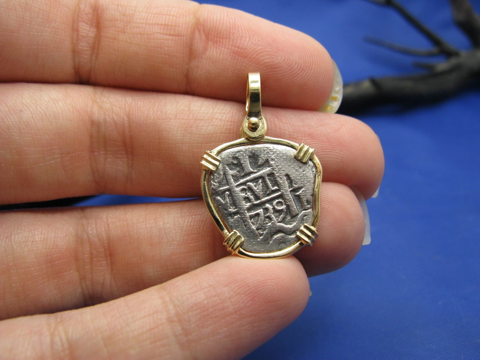 Small ''1 Reale'' Pirate Coin Reproduction Cob Pendant with Custom 14k Bezel by Crisol Jewelry (Atocha Shipwreck Replica)