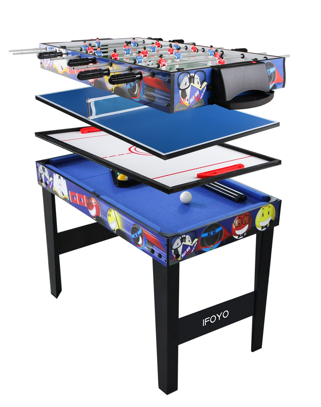 IFOYO Multi Function 4 in 1 Combo Game Table, Steady Pool Table, Hockey Table, Soccer Foosball Table, Table Tennis Table, 31.5in, Blue by IFOYO