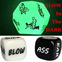 U-Shark Valentine's Day Funny Couple Partner Fitness Games Bar Party Pub Dice Fun Toy Game Pro Glow 12 Sides Funny Dice for Bachelor Party or Couples Novelty Gift