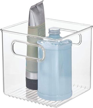InterDesign Linus Caja organizadora para Cuarto de baño, Organizador de cajones de plástico en Forma de Cubo con Asas, Transparente: Amazon.es: Hogar