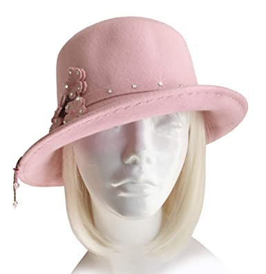 Mr. Song Millinery Ultra-Soft Felt Fedora Bucket Cloche Hat - Pink ... 6dc216781e6
