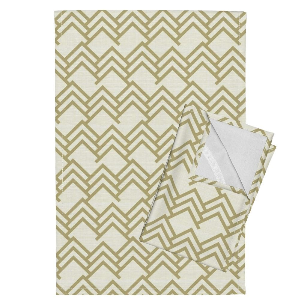 Roostery Linen Tan Woodland Arrows Chevron Brown Cream Tea Towels Tan Woods On Linen by Mrshervi Set of 2 Linen Cotton Tea Towels