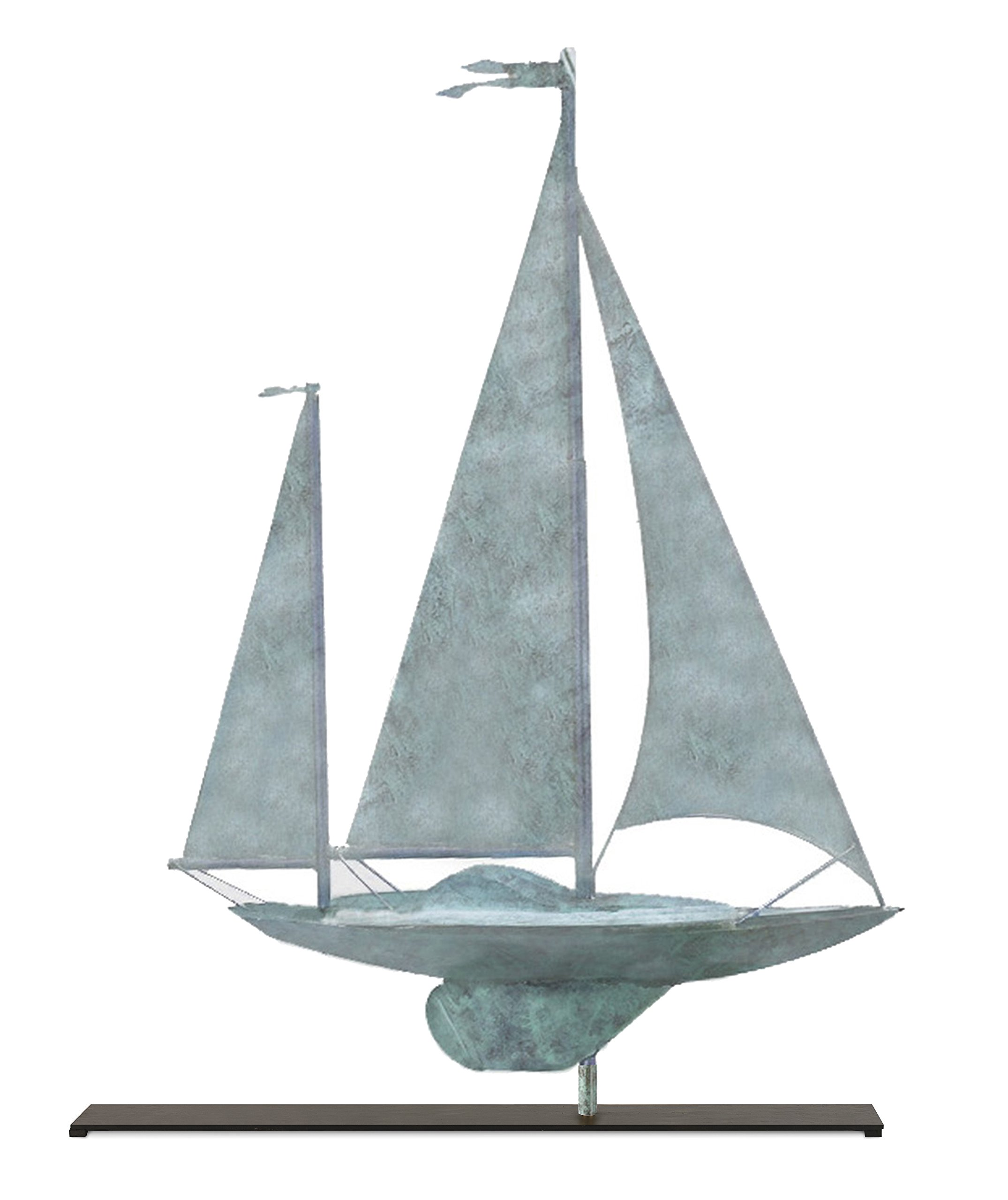 Good Directions Yawl Weathervane Sculpture on Mantel / Fireplace Stand, Blue Verde Pure Copper, Nautical Home Décor, Tabletop Accent