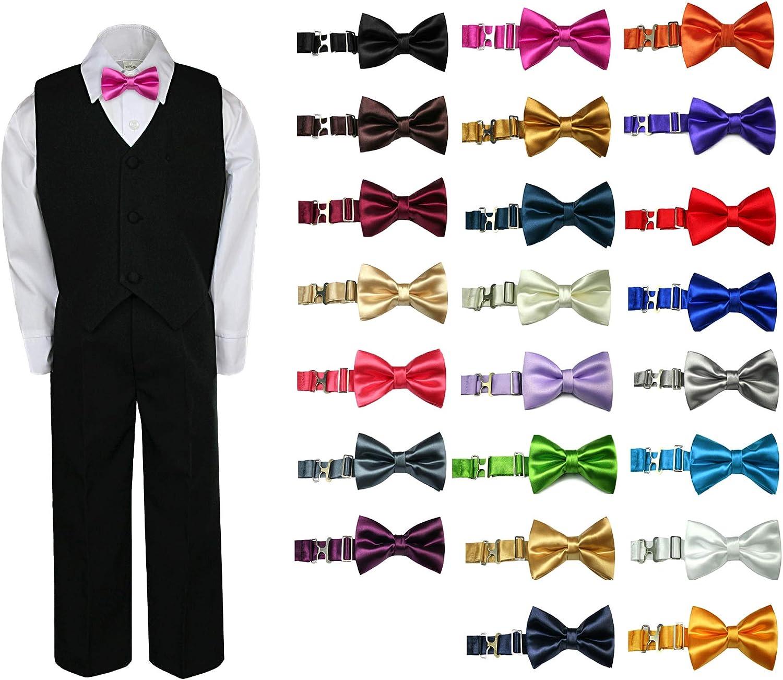 4pc Baby Toddler Kid Boy Party Suit BLACK Pants Shirt Vest Bow tie Set 8-20