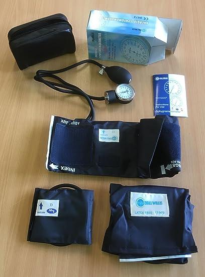 Lyall Willis Tensiómetro aneroide modelo – de bolsillo – la presión arterial Monitor + 3 puños