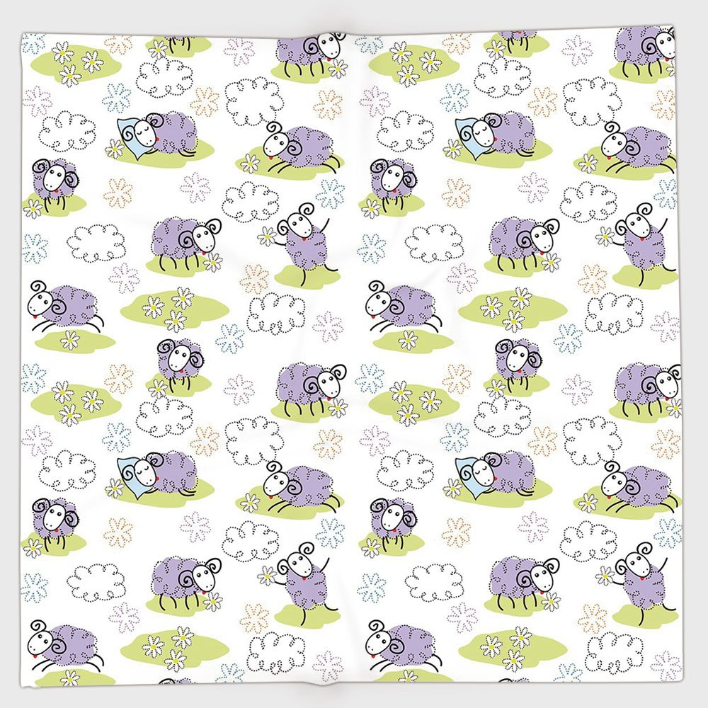 Cotton Microfiber Hand Towel,Doodle,Cute Sheep with Clouds Constructed out of Dots Happy Animals Child Friendly Print Decorative,Lavender,for Kids, Teens, and Adults,One Side Printing