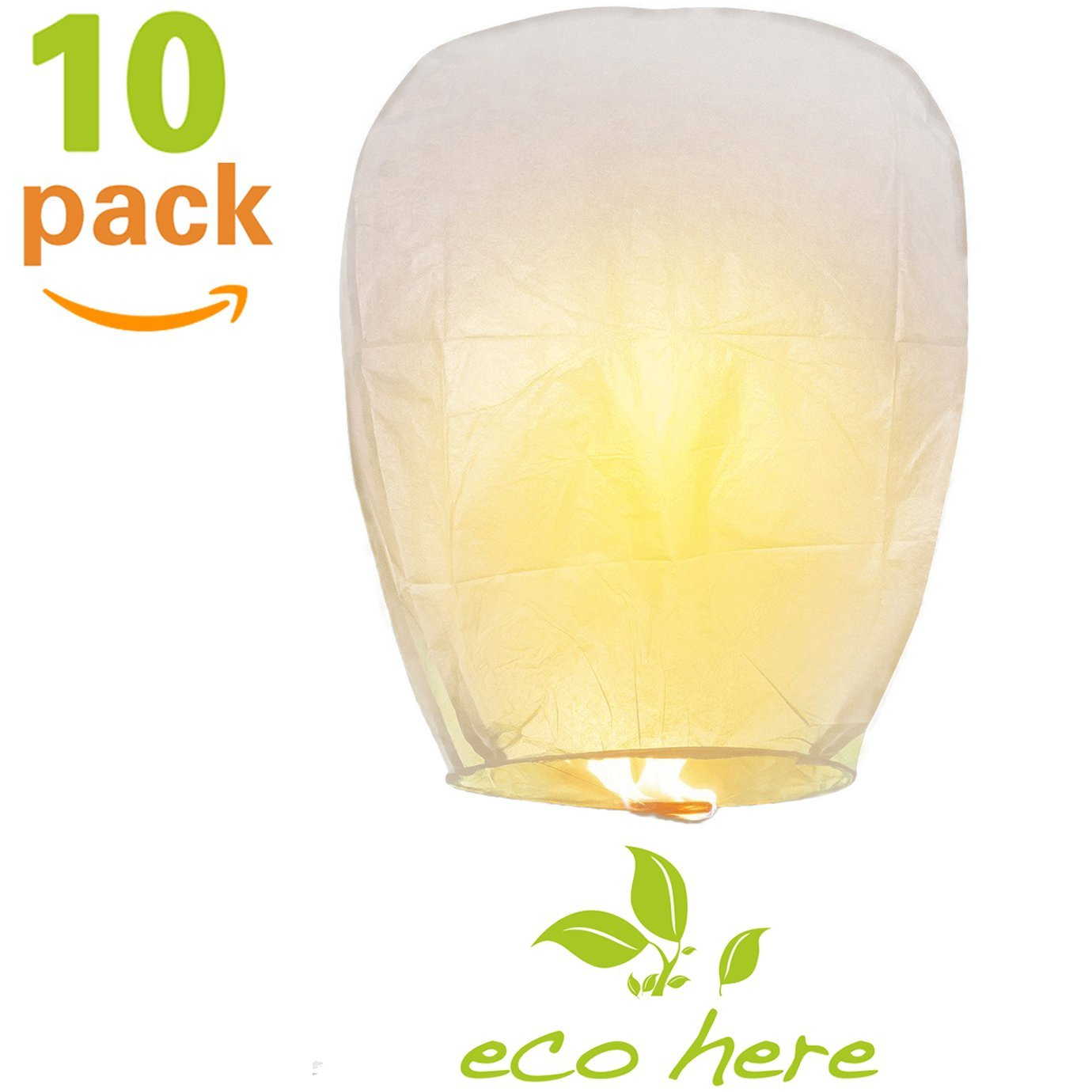 Floating Lanterns - Chinese Lanterns with Wax Block, Eco Friendly Biodegradable Sky Lanterns, White Paper Lanterns for Wedding, Birthday, Memorial, Party, Wishing Lanterns (10, White)