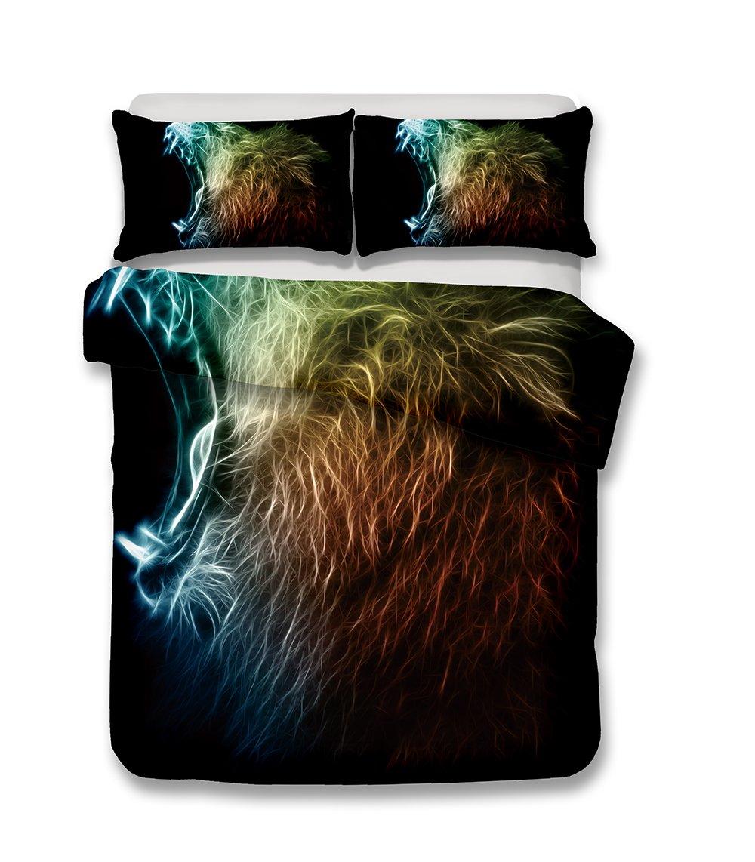 Helengili 3D Digital Printing Bedding Set Lion Leo Bedding Bedclothes Duvet Cover Sets Bedlinen 100 Percent Microfiber Present , California King