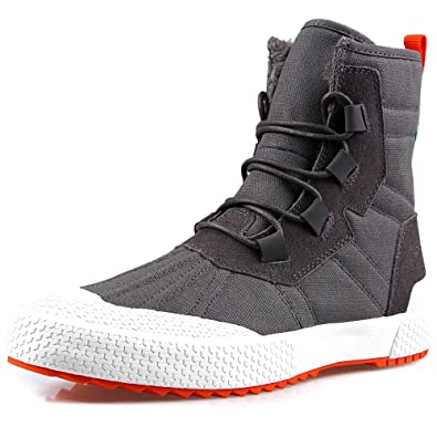 5521a4f61be TWEAK Mens Snow Boots, Mens Adult High Tops Canvas with Leather Fur Lined  Waterproof Trainers Winter ...