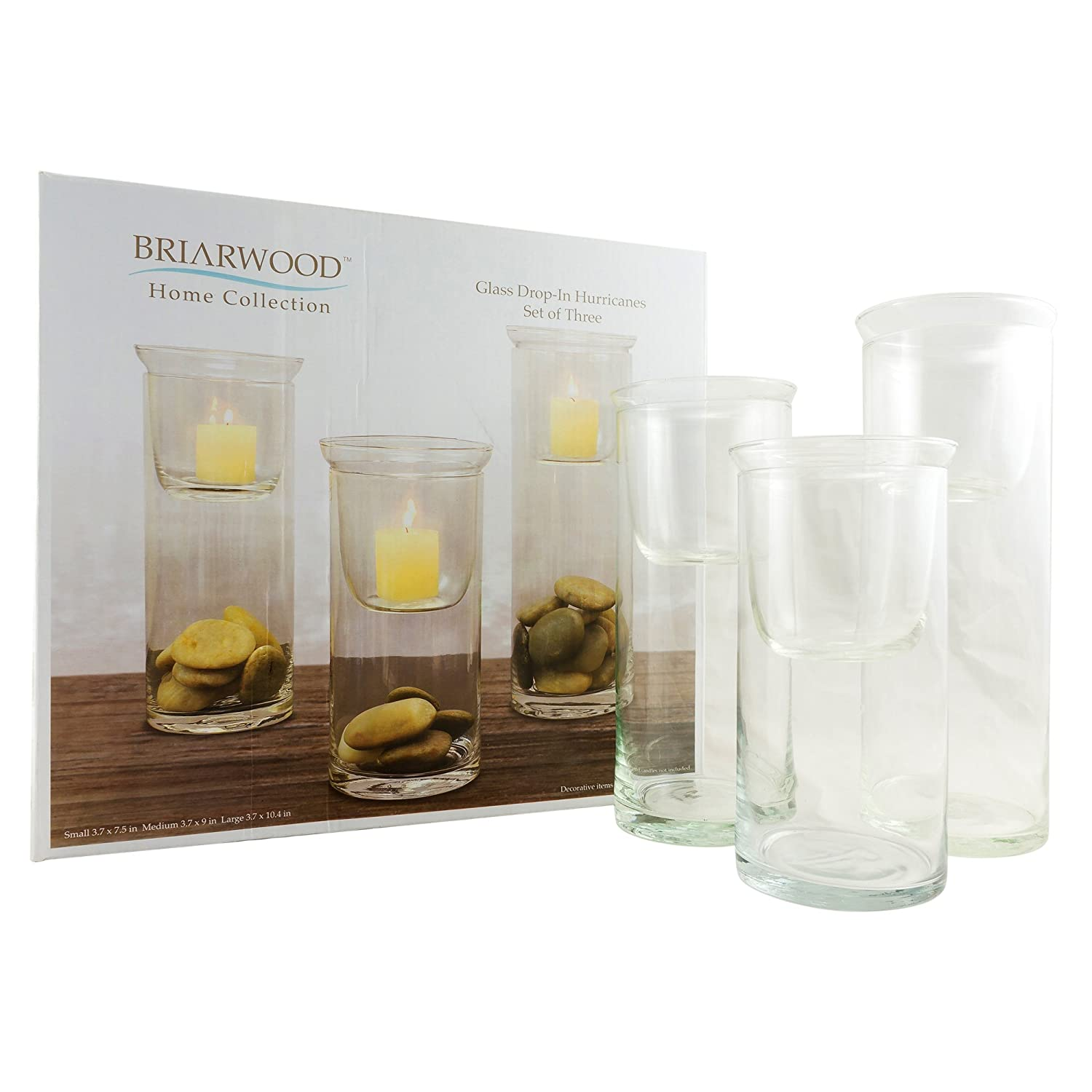 Stonebriar Cylinder Glass Hurricane Set with Removable Votive Candle Holder Inserts, Traditional Home Decor for Dining Room, Living Room, and Bedroom, Decorative Centerpiece CKK H-07-7007A06