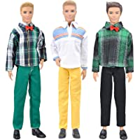E-TING 3 Sets Casual Wear Plaid Shirt T-Shirt Jeans Pants Trousers Doll Clothes for Boy Doll (B)