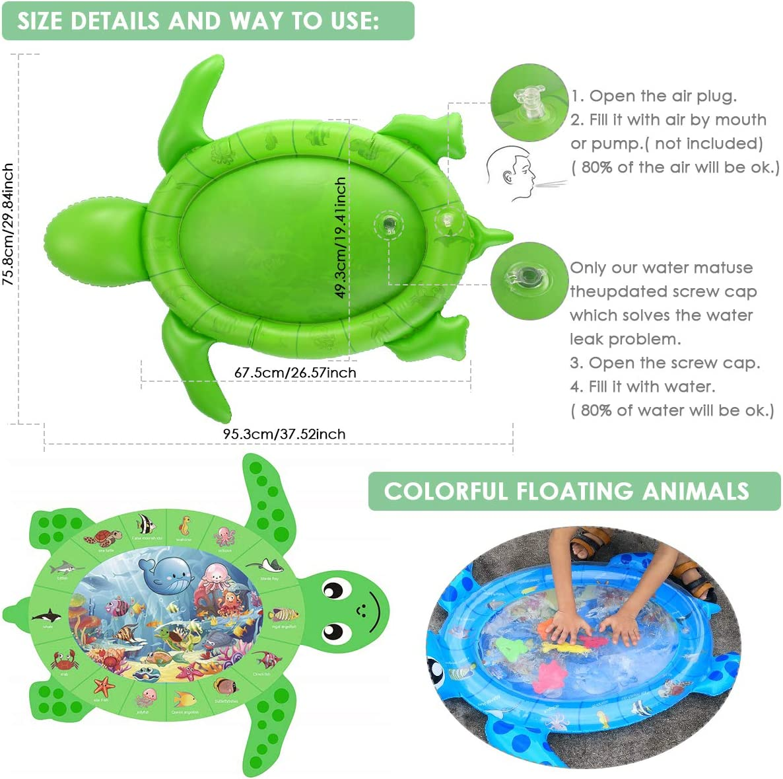colchoneta inflable para beb/és reci/én nacidos Forma de tortuga marina para 3-18 meses Ni/ños o ni/ñas colchoneta de agua para la panza del beb/é azul