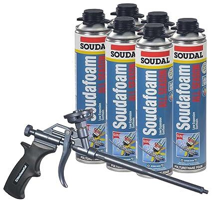 6 latas Soudal todos temporada para ventana y puerta espuma, Plus AWF – Pro pistola