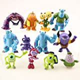 ELSANI Monsters Party Cake Topper Favors Goody Bag Fillers Set of 12 Figures with Mike Wazowski, Sulley, Art, two headed…
