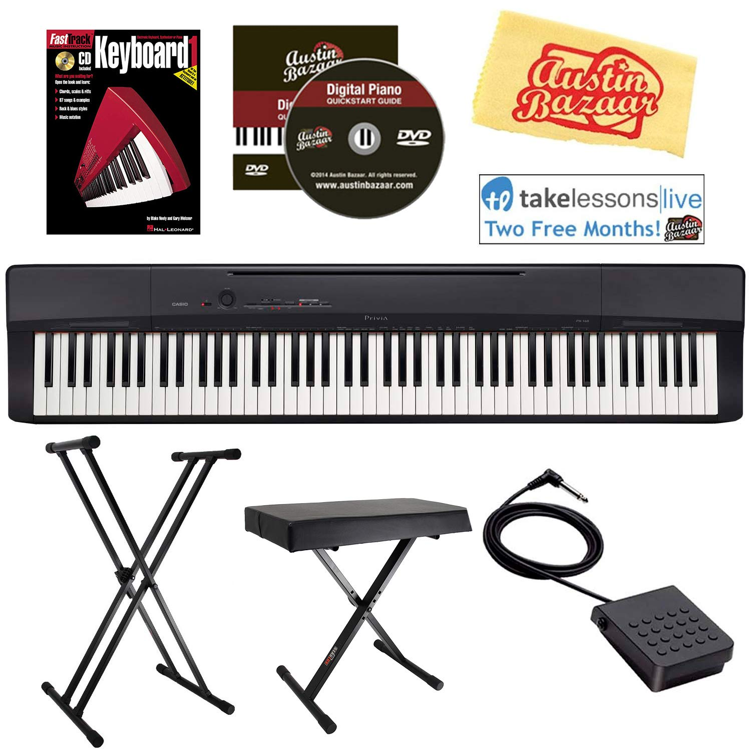 Casio Privia PX-160 Digital Piano - Black Bundle with Adjustable Stand, Bench, Sustain Pedal, Instructional Book, Austin Bazaar Instructional DVD, Online Lessons, and Polishing Cloth by Casio