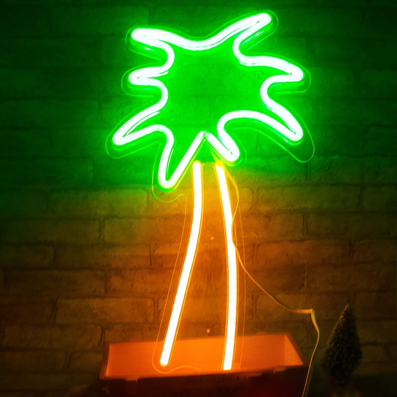LUCUNSTAR Kokosnussbaum Neon Zeichen LED Neonlichter Kunstwanddekor f/ür Zimmer Wand Kinder Schlafzimmer Geburtstag Party Bar Decor 18,9x 7,8 Palm Tree