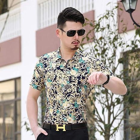 PARKLEES Camisa Floral Dorada de Luxus Männer Marke Neue Kurzarm Herren Camisas Slim Fit Negocio Casual Social Hemd Männlich Camisa: Amazon.es: Deportes y aire libre