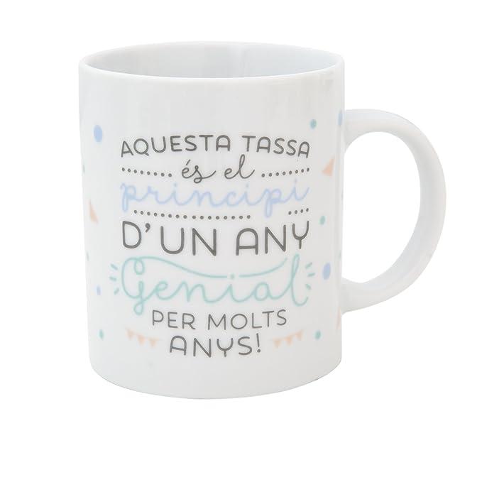 Mr. Wonderful Taza es el Principio de un año Genial ¡Feliz cumpleaños con Contenido en Catalan, Porcelana, Blanco, 10 cm