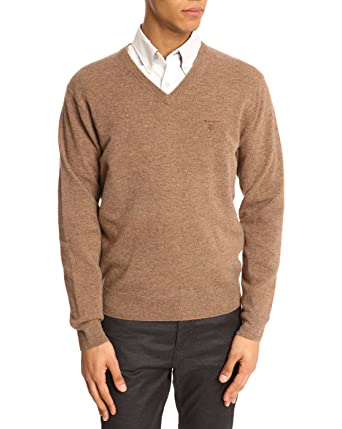 a210305f47b Gant - V-neck Sweaters - Men - Beige V-Neck Lambswool Sweater for men - L:  Amazon.co.uk: Clothing