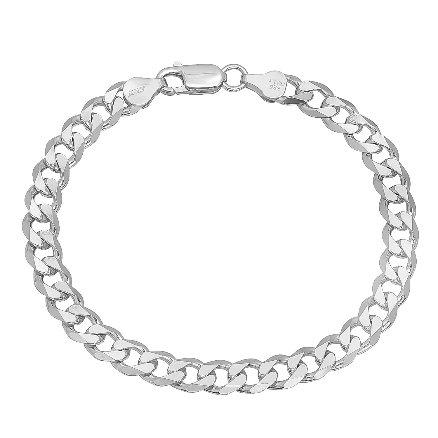 Italian 6.5mm 925 Sterling Silver Nickel-Free Beveled Cuban Curb Link Bracelet, 7'' + Cleaning Cloth by The Bling Factory (Image #2)