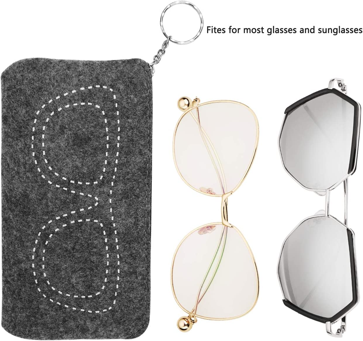 Eyeglasses and Contact Lens Case 2 in 1 Hard Shell Double Sided Glasses Case with One Soft Zipper Glasses Pouch Red