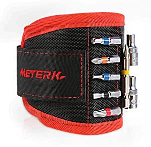 Meterk Magnetic Wristband with Strong Magnets for Holding Tools, Screws, Nails, Bits and Parts, Durable Material, Adjustable Size, Assistant for Home DIY,Cool Gifts for Dad/Men, Craftsman