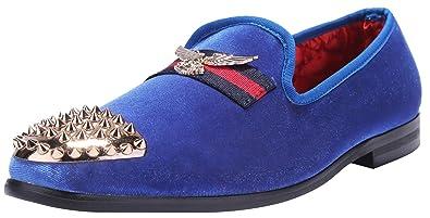 dd34b2af374f ELANROMAN Men Loafers Velvet Casual Dress Shoes Slip on Genuine Leather  Insole Metallic Textured Glitter Penny Luxury Dress Shoes for Men Black Blue  Wine ...
