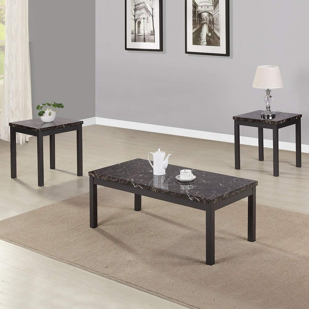 Rikis 3 Piece Modern Faux Marble Coffee and End Table Set with Metal Legs for Living Room by Rikis