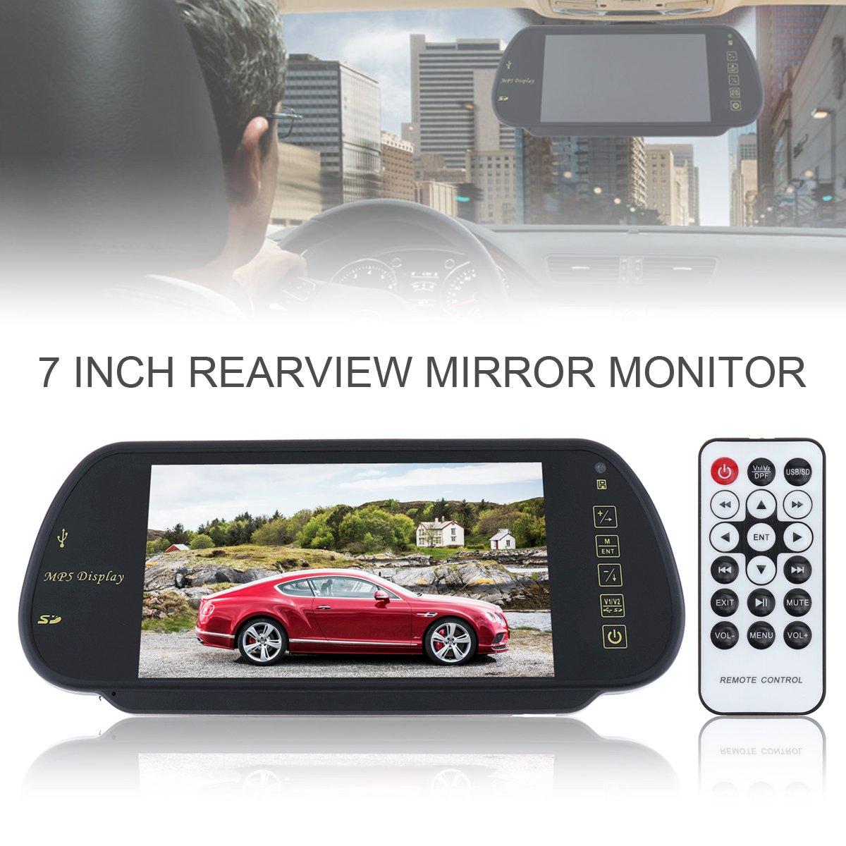 Epathchina 17,8 cm TFT LCD MP5 Car specchietto retrovisore monitor con ingresso USB, SD, canali video per telecamera posteriore di retromarcia 8cm TFT LCD MP5Car specchietto retrovisore monitor con ingresso USB EPC_CMO_316
