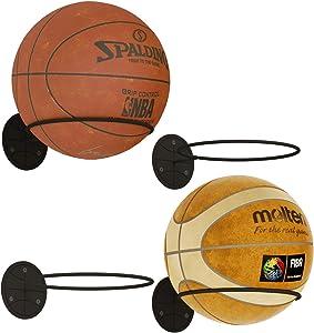 Wallniture SPORTA Wall Mount Ball Holder Organization and Storage Rack for Basketball, Volleyball, Soccer Balls, Metal Black Set of 4