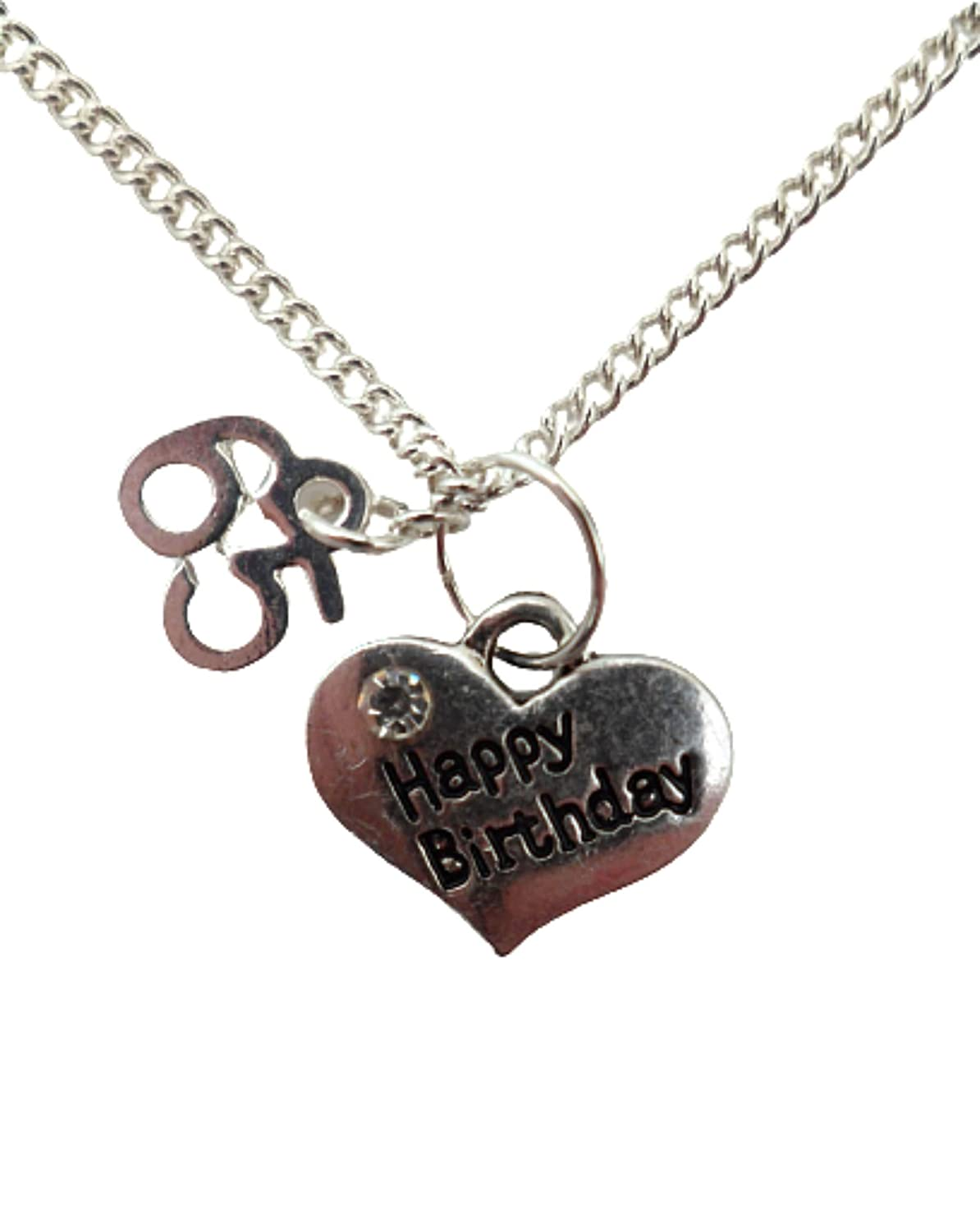 Silver Necklace Happy Birthday Love Heart Gem Charm Pendant Age 65