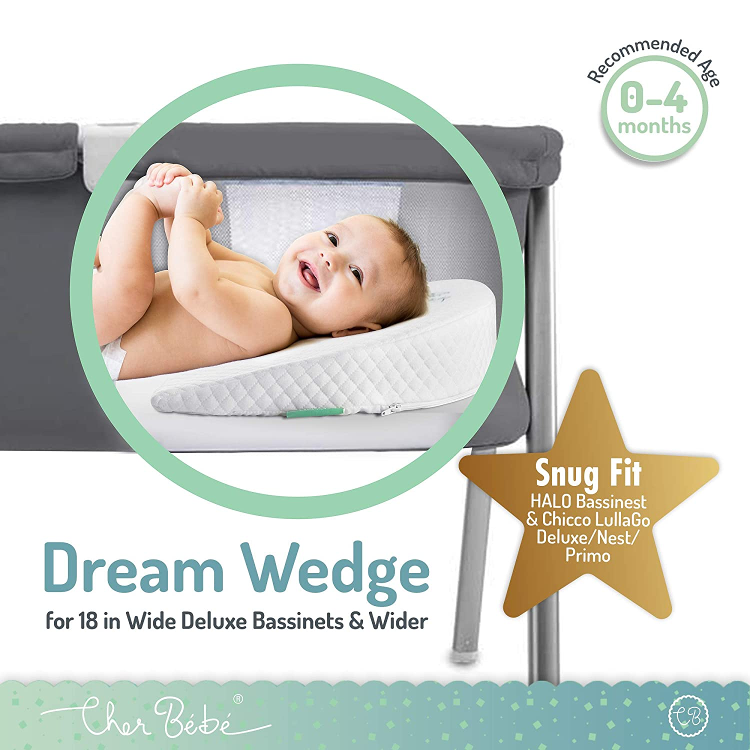 Cher B/éb/é Wedge Pillow for Halo and Chicco LullaGo Bassinets Cotton and Waterproof Covers High Incline for Reflux and Colic Sleep Positioner for Baby Mattress Pads