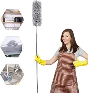 Microfiber Duster for Cleaning with Telescoping Extension Pole, Extra Long 100 inches, Extendable Dusters for High Ceiling Fan, Baseboards, Cars, Vents(Gray)