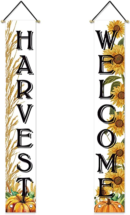 Avoin Fall Harvest Welcome Porch Sign Autumn Wheat Ears Pumpkin Sunflower Thanksgiving Hanging Banner Flag For Yard Indoor Outdoor Party 12 X 72 Inch Garden Outdoor