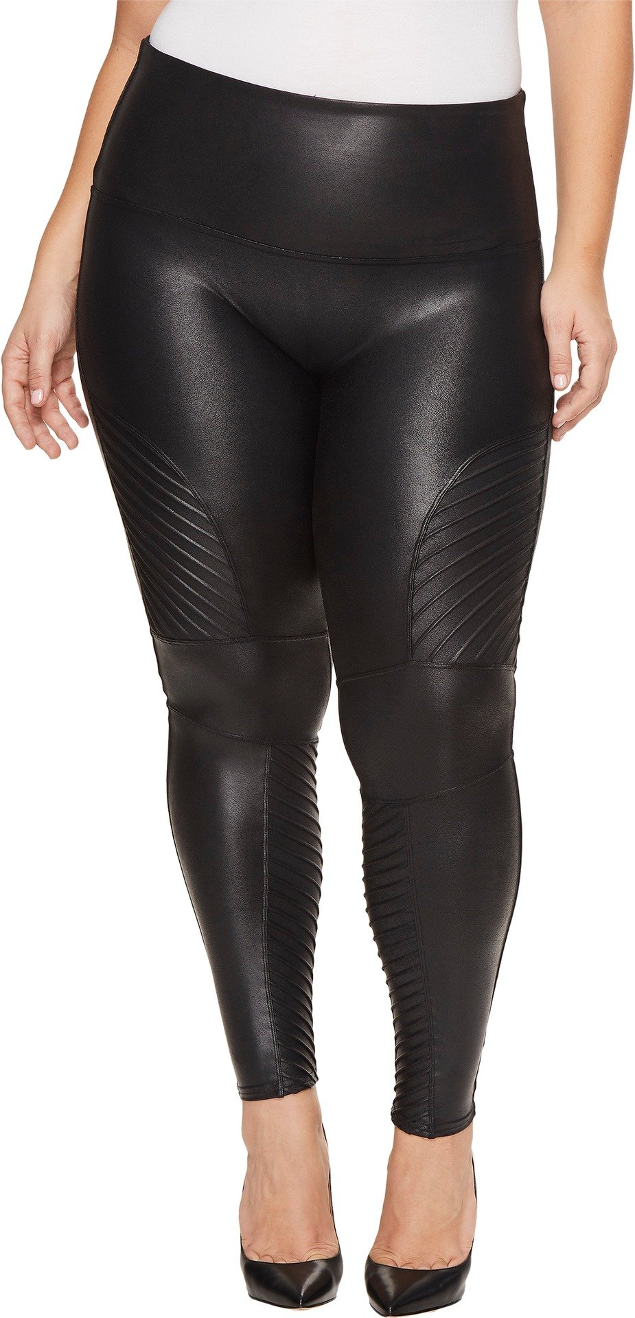 SPANX Plus Faux Leather Moto Leggings, Very Black, 1X