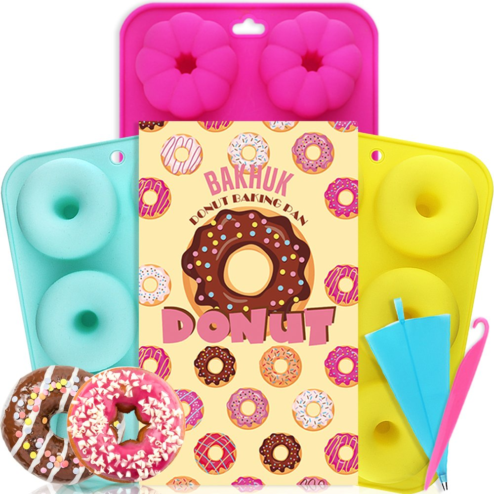 APLANET 3 Pack Silicone Donut Molds, Non-Stick Baking Tray Maker Pan, Full-Size Round and Flower Donuts Cake Molds with 1pc Icing Bag and 1pc Icing Tool as Gifts APLANET EU