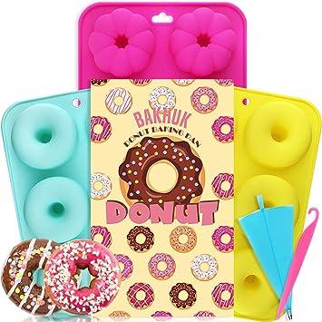 APLANET 3 Donut - Molde de silicona antiadherente para hornear, redondo y flor: Amazon.es: Hogar