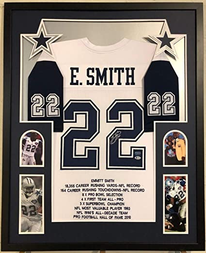 3b29f6589 Emmitt Smith Autographed Signed Custom Framed Dallas Cowboys Stat ...