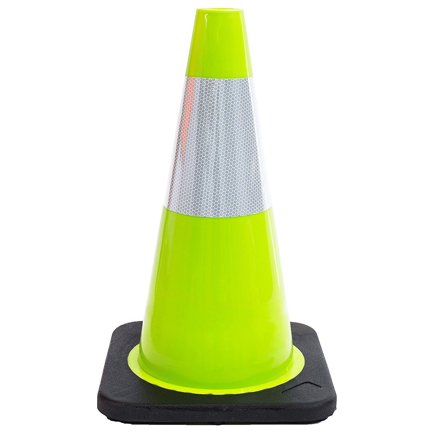 (Set of 24) 18'' RK Lime Safety Traffic PVC Cones, Black Base, with One Reflective Collar