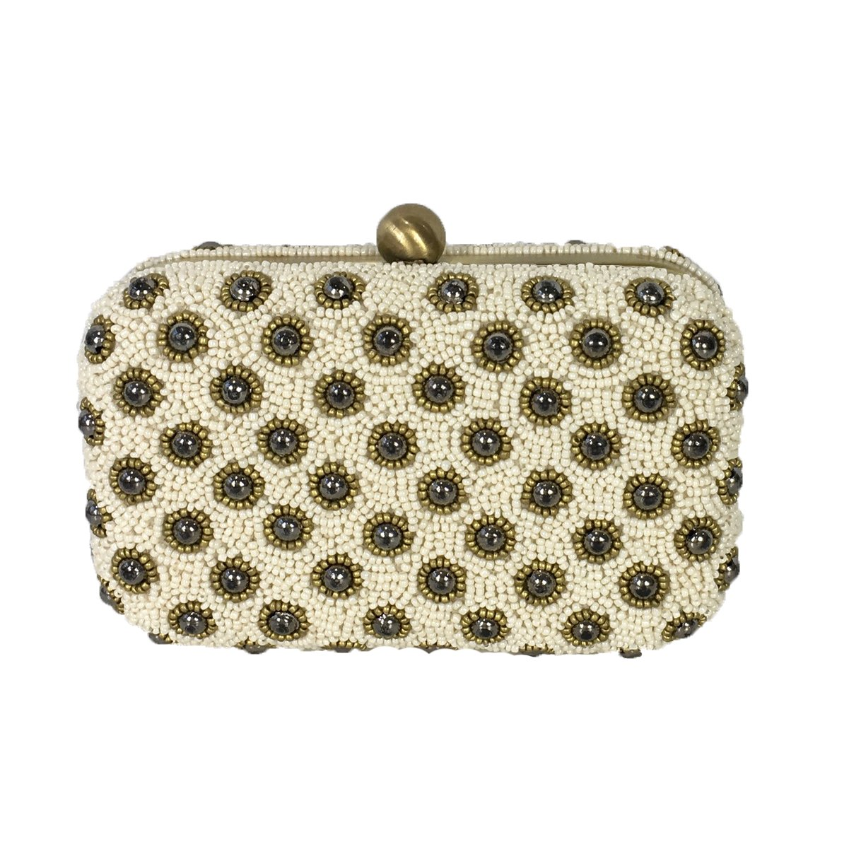 From St Xavier Daisy Beaded Box Clutch Evening Bag, Ivory Multi