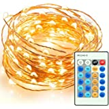 Emwel 100 LEDs 33ft 10M Fairy Lights with Remote Controller USB Operated Starry Lights Waterproof String Lights LED Flexible Bendable Wire Lights Rope Lights for Christmas Valentine's Day Wedding DIY Decorations --Warm White