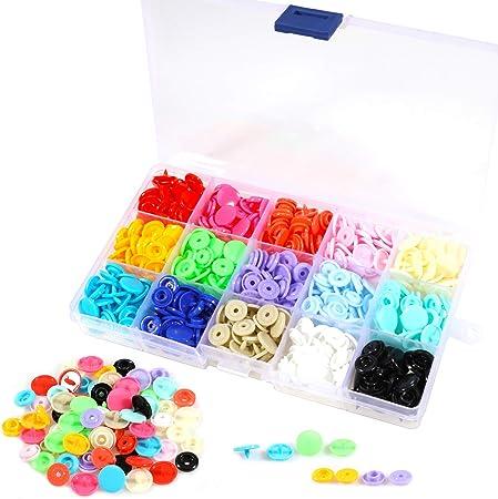 Snaps Plástico T5 Botones Redondos 15 Colores, 150 Set Resina Botón de presión 12mm, Corchetes de presion plastico para Manualidades Bricolaje Costuras con Caja de Almacenamiento: Amazon.es: Hogar