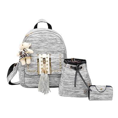 Amazon.com  Gowind7 Women Backpack Sets 3Pcs Girls PU Leather Shoulder Bag  Tassel Rivet Bag+Handbag+ Card Bag(Grey)  Shoes 5539292723db4