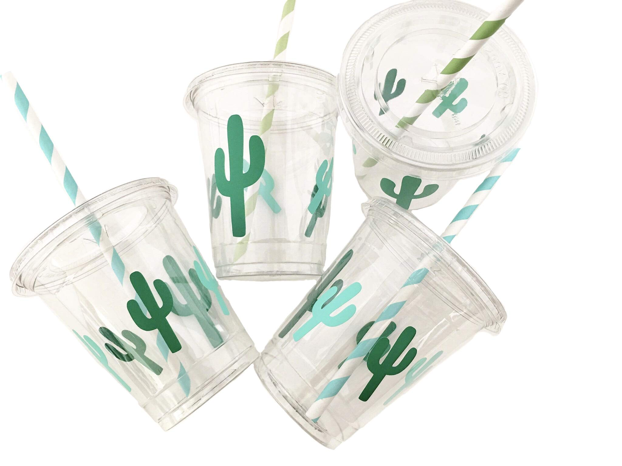 Cactus Party Cups - Set of 12 with Lids Paper Straws Birthday Fiesta Supplies by Stesha Party
