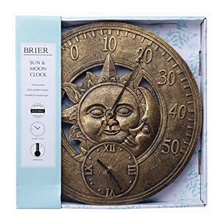 Briers Sun U0026 Moon Outdoor Garden Clock With Thermometer