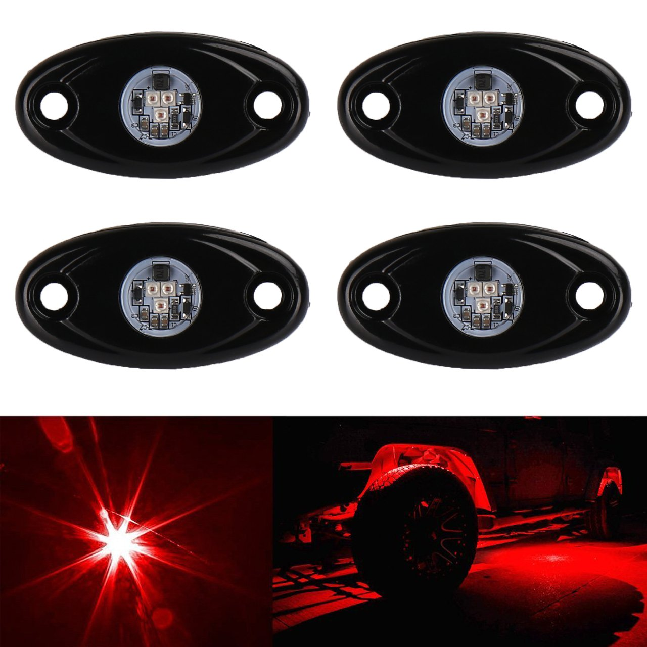 KaTur 4 Pods LED Rock Lights Kit Waterproof Underglow LED Neon Trail Rig Lights for Jeep Truck ATV UTV Baja Raptor Offroad Boat Trail Rig Lamp Underbody Glow -Red
